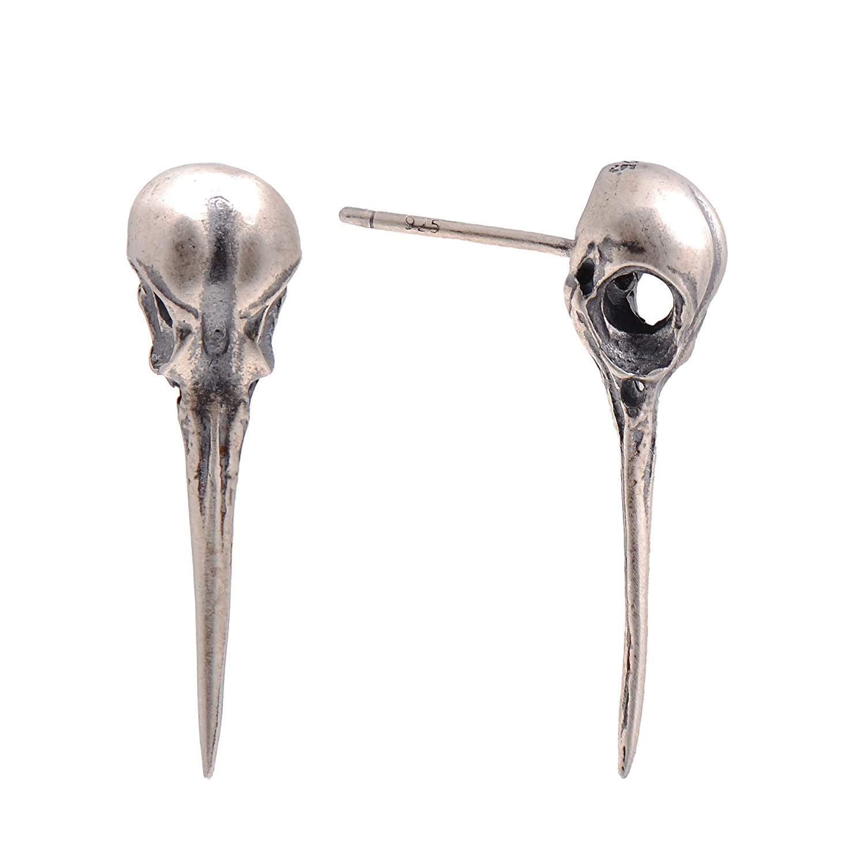 COOL Nice gift Handmade 925 sterling Silver Hummingbird Skull Earring Stud Earrings Punk Gothic