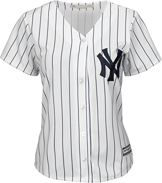 Majestic Athletic New York Yankees Cool Base MLB Replica Jersey Pinstripe Baseball Trikot Tee T-Shirt: Amazon.es: Ropa y accesorios
