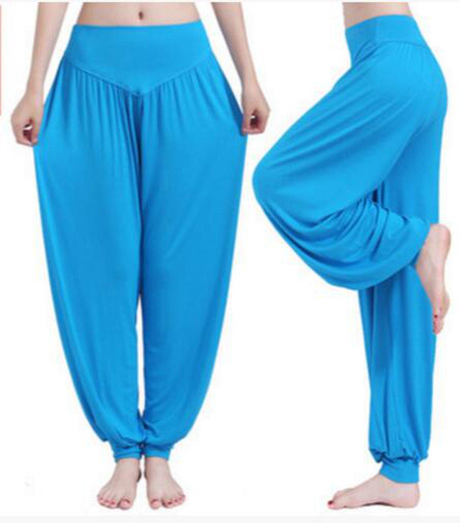 Women Yoga Pants Women Plus Size Yoga Leggings Yoga Taichi Full Length Pants Yoga Clothes,Sky Blue,L