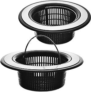 2 Pack - Black Kitchen Sink Drain Basket Strainer Food Catcher - Deep Basket with Foldable Handle