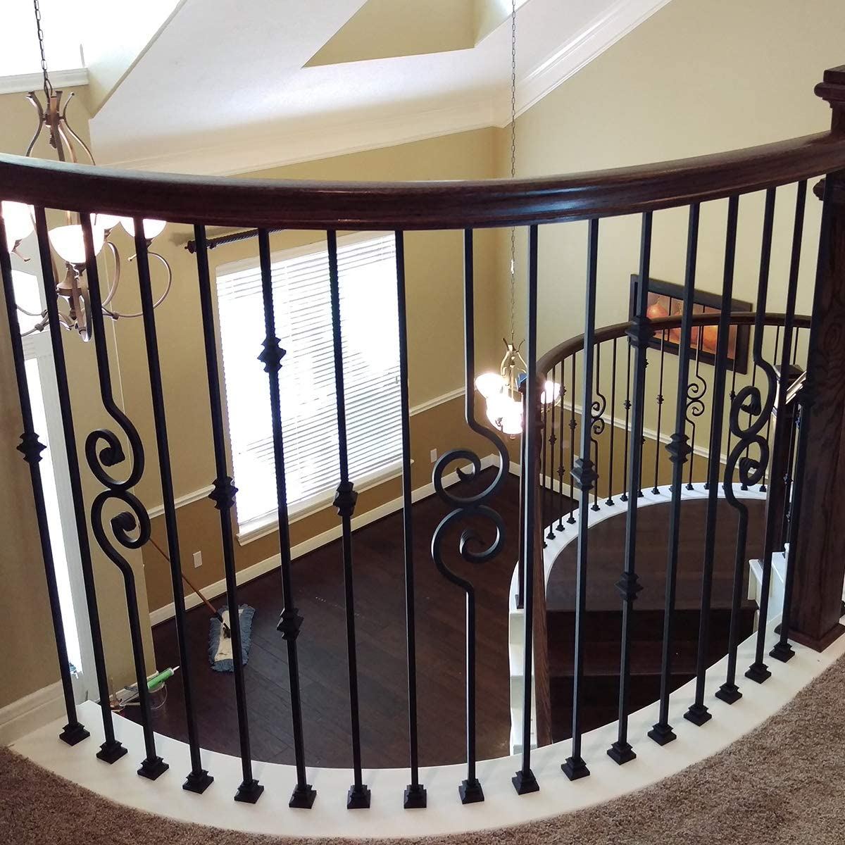 Balaustres de hierro para escalera con doble pergamino contemporáneo (10 unidades) para escaleras, moderno, hueco, nautilus, pergamino, ejes de metal (negro satinado): Amazon.es: Bricolaje y herramientas