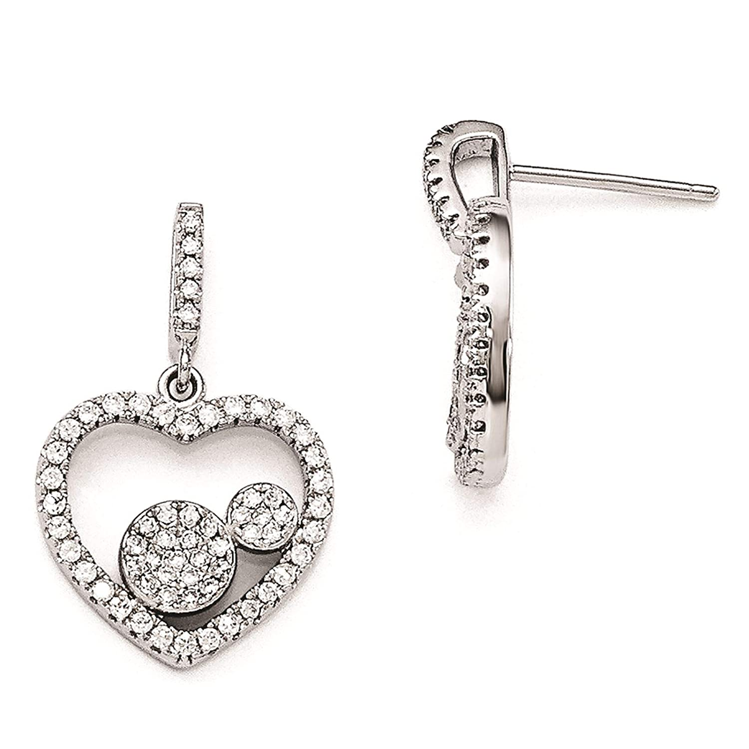 Brilliant Embers 925 Sterling Silver Rhodium-plated Polished CZ Heart Dangle Post Earrings