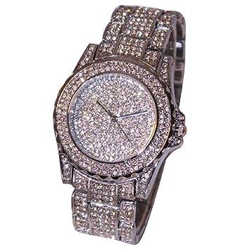 12shage Relojes Luxus Mujeres brillantes cerámica Cristal Quartz Relojes, mujer, plata: Amazon.es: Deportes y aire libre