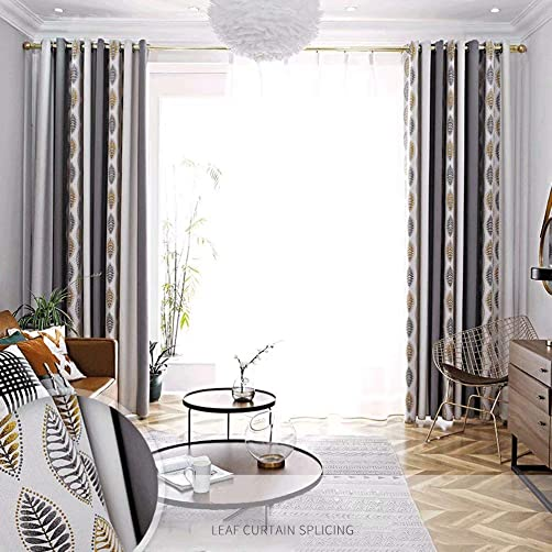 MacoHome Leaves Embroidery Linen Blackout Panels Textured Decorative Thermal Insulated Grommet Curtain