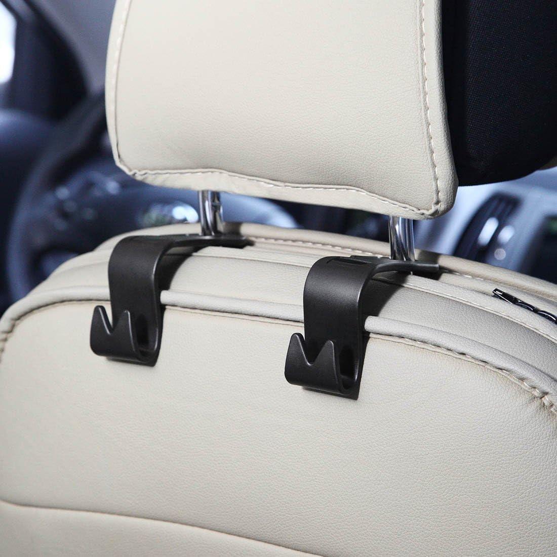 Winsenpro 4PCS Car Back Seat Headrest Hanger Holder Hook for Bag Purse Cloth Black, 4-Pack