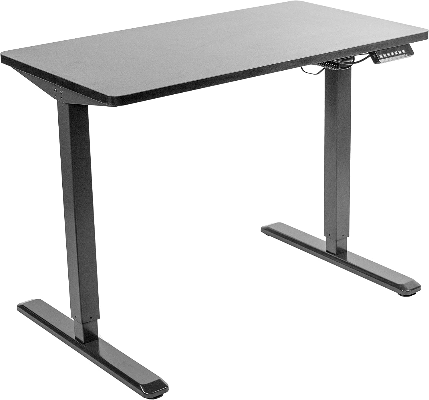 VIVO Electric 43 x 24 inch Stand Up Desk, Black Solid One-Piece Table Top, Black Frame, Height Adjustable Standing Workstation with Memory Preset Controller (DESK-KIT-1B4B)