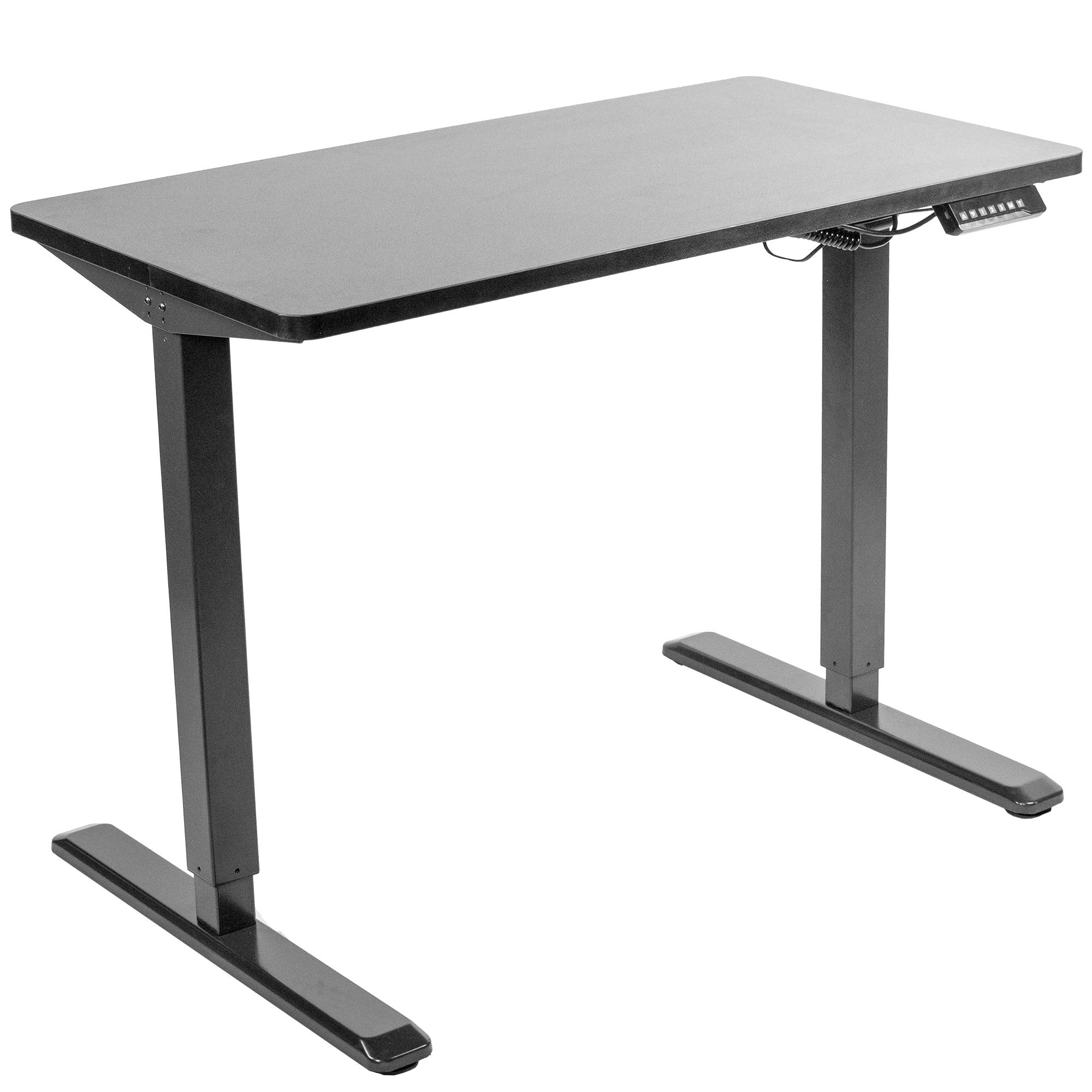 VIVO Electric 43 x 24 inch Stand Up Desk   Black Table Top, Black Frame, Height Adjustable Standing Workstation with Memory Preset Controller (DESK-KIT-1B4B) by VIVO