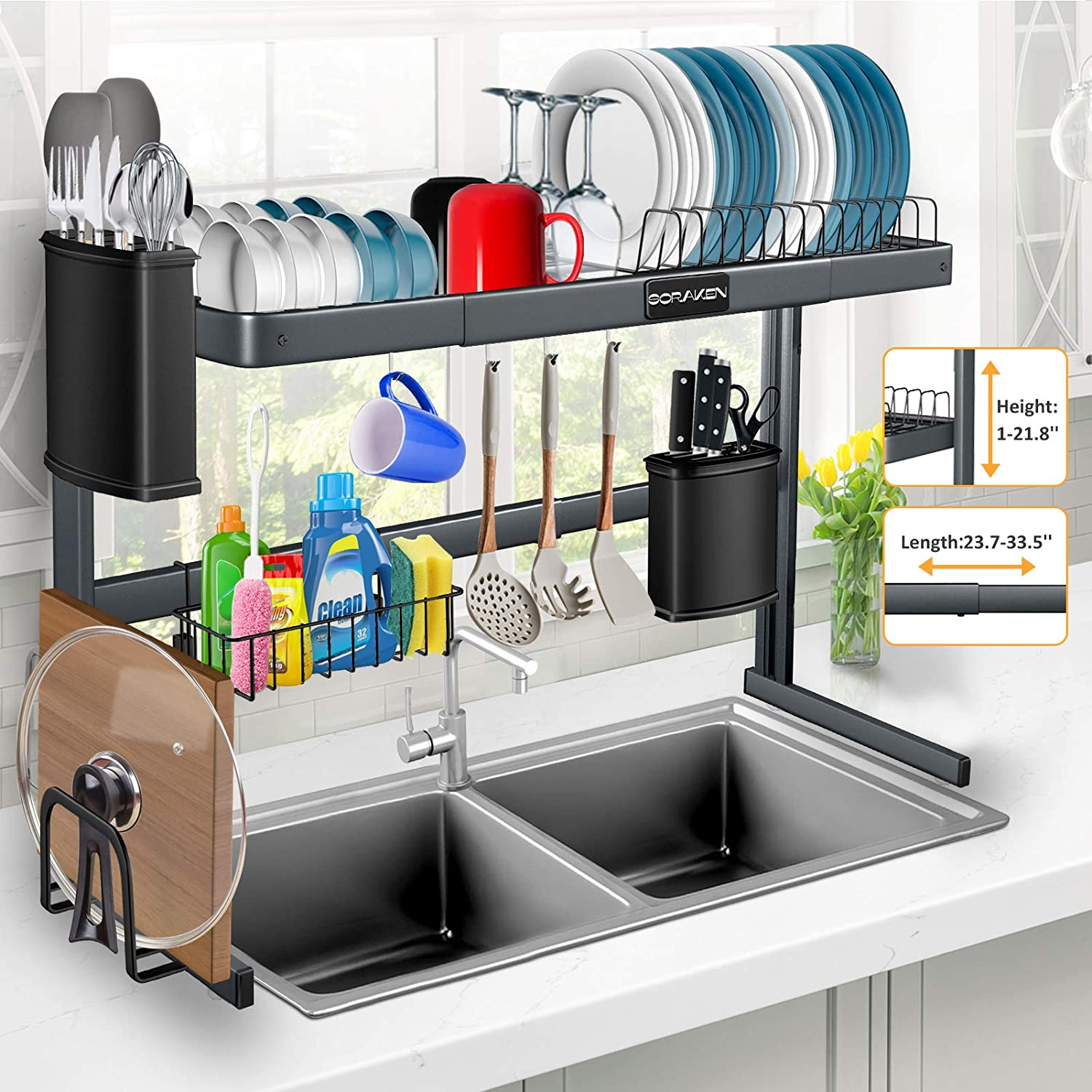 Amazon Com Over The Sink Dish Drying Rack Stainless Steel Over Sink Dish Drying Rack Height 1 21 8 Length 23 7 33 5 Adjustable For Dishes And Utensils Kitchen Countertop Organization And Storage