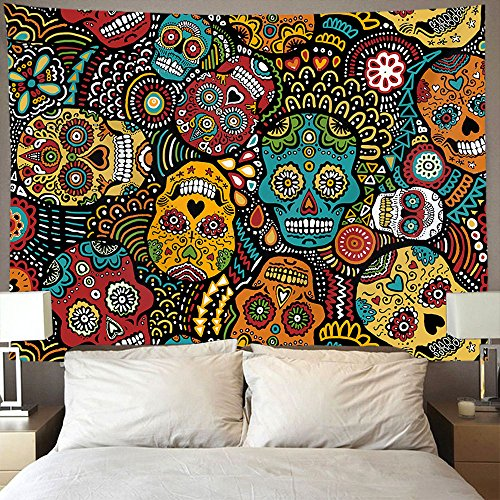 AMERICAN TANG Mexican Sugar Skulls Wall Tapestry Hippie Art Tapestry Wall Hanging Home Decor Extra large tablecloths 60x80 inches For Bedroom Living Room Dorm ()
