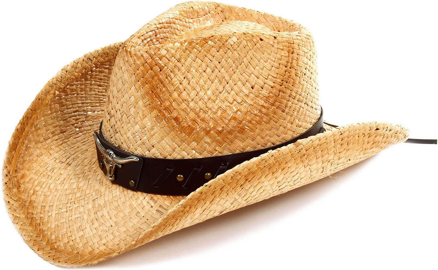 TAUT Children Woven Straw Cowboy Hat for Summer, Brown