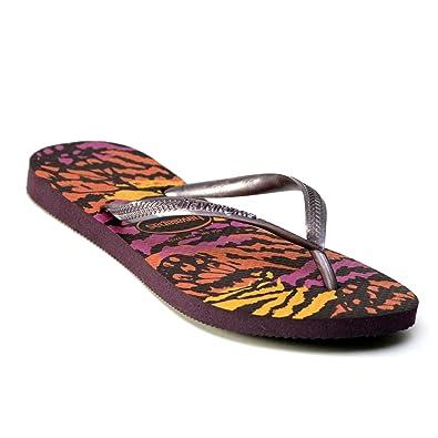 6c9d8e5a41473 Havaianas Slim Animals Flip Flops Aubergine Sandals Rubber Thongs Strap UK  EU Size