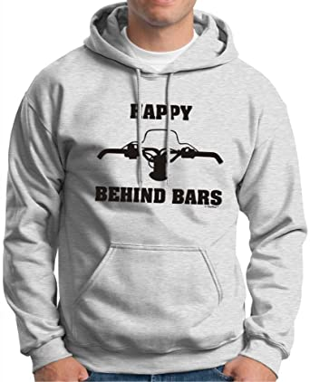 528dca888b16 Amazon.com  Happy Behind Bars Snowmobile Premium Hoodie Sweatshirt ...