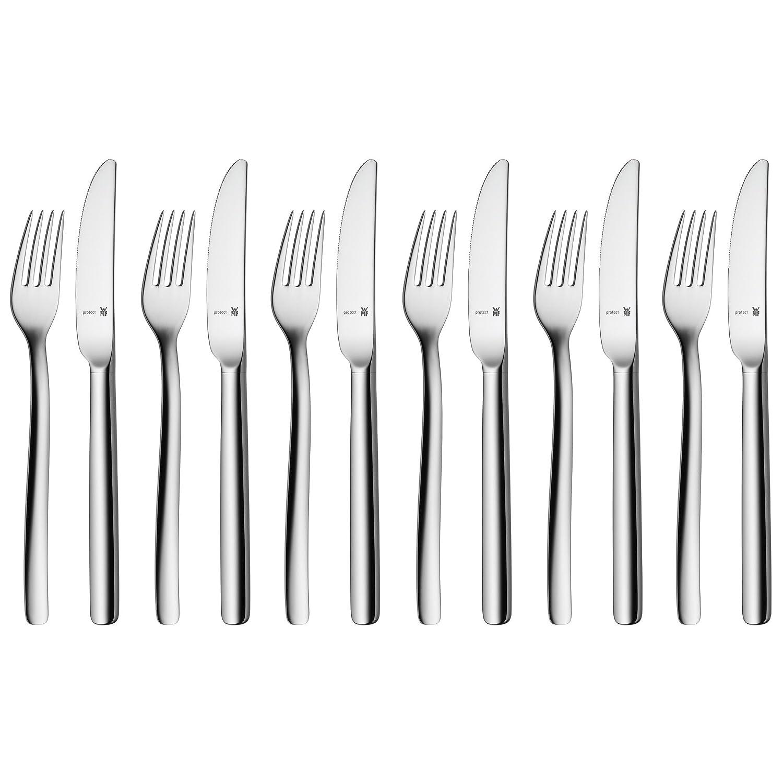 WMF 1106566340 Atic - Tenedores y cuchillos para postre o desayuno (12 piezas, acero Cromargan Protect): Amazon.es: Hogar