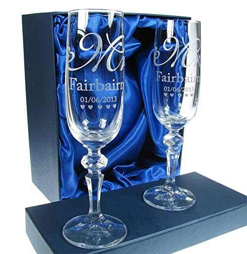 Bride And Groom Gifts 24 Lead Crystal Engraved Wedding Champagne Flutes Mr