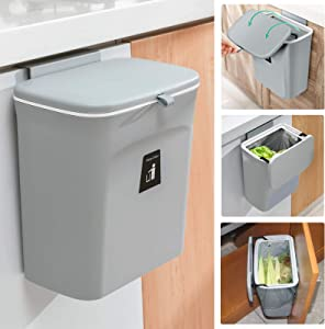 Tiyafuro 2.4 Gallon Kitchen Compost Bin for Counter Top or Under Sink, Hanging Small Trash Can with Lid for Cupboard/Bathroom/Bedroom/Office/Camping, Mountable Indoor Compost Bucket, Gray