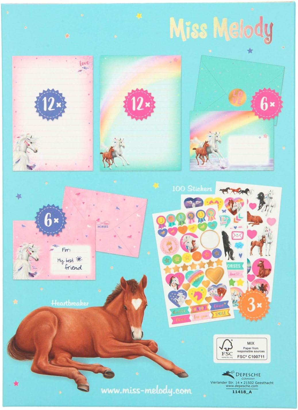 Depesche- Juego Carta Miss Melody 22 x 16,3 x 1,3 cm Aprox Sobres y Bonitas Pegatinas para Decorar con Hojas de Papel a Rayas 11418