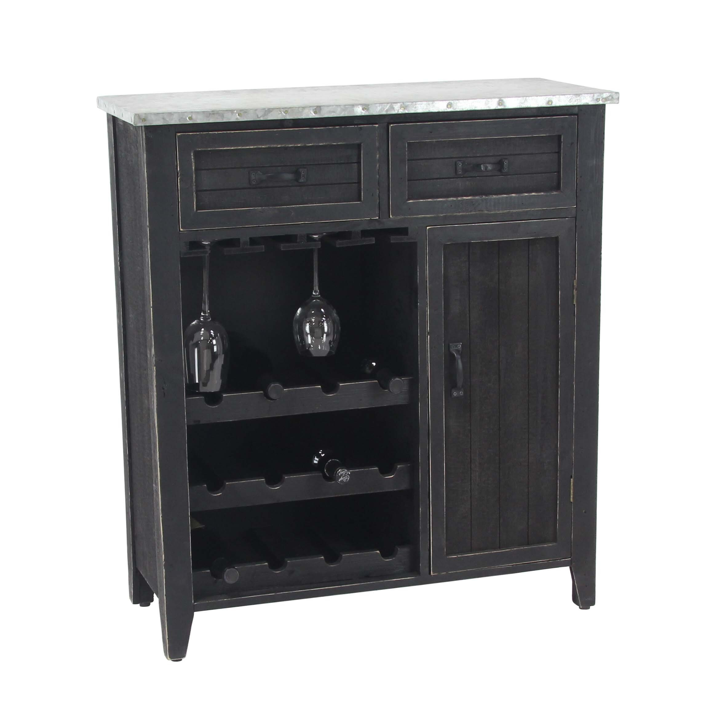 Deco 79 45894 Wine Cabinet, Black by Deco 79
