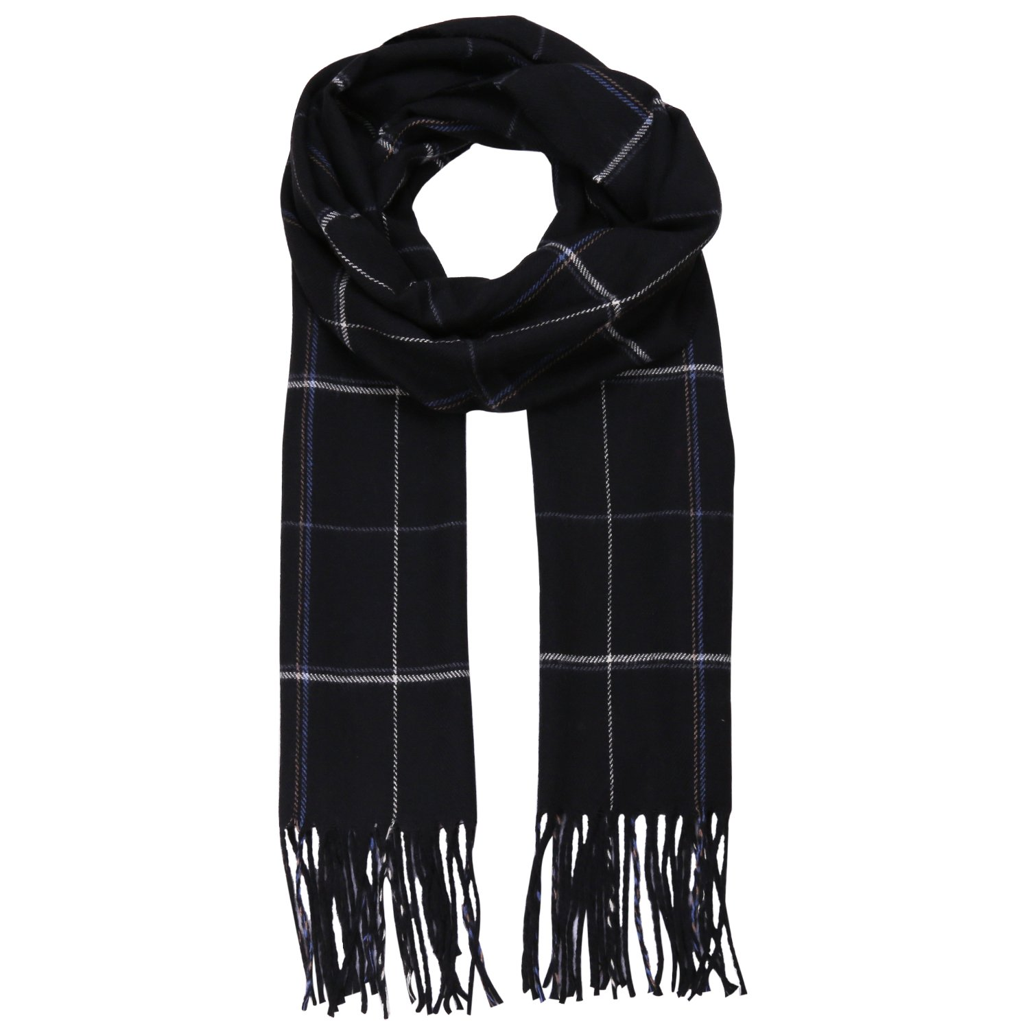 SOJOS Classic Plaid Tartan Cashmere Scarves with Tassels for Men and Women SC310 With Pink Plaid SC310C8