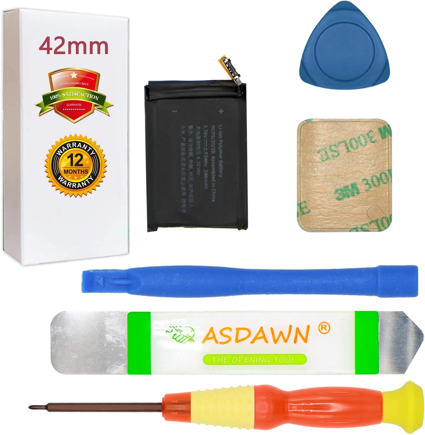 A1579 Battery for A1803 A1554 42mm Watch Series 1 Replacement with Repair Tool Kits+ Back Cover Adhesive + Installation Instruction