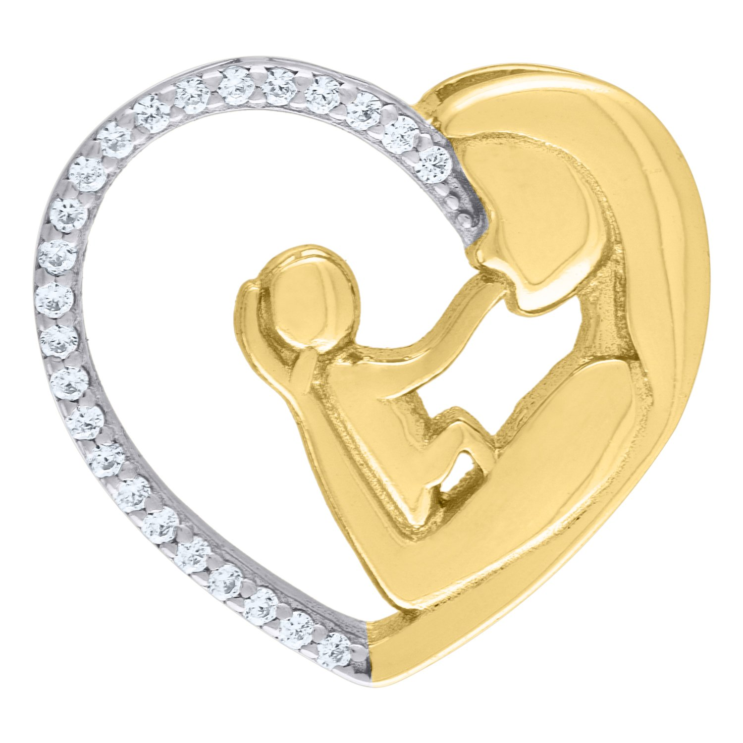 Jawa Jewelers 925 Sterling Silver Two-tone CZ Mother Child Heart 2.64gm Womans Charm Pendant