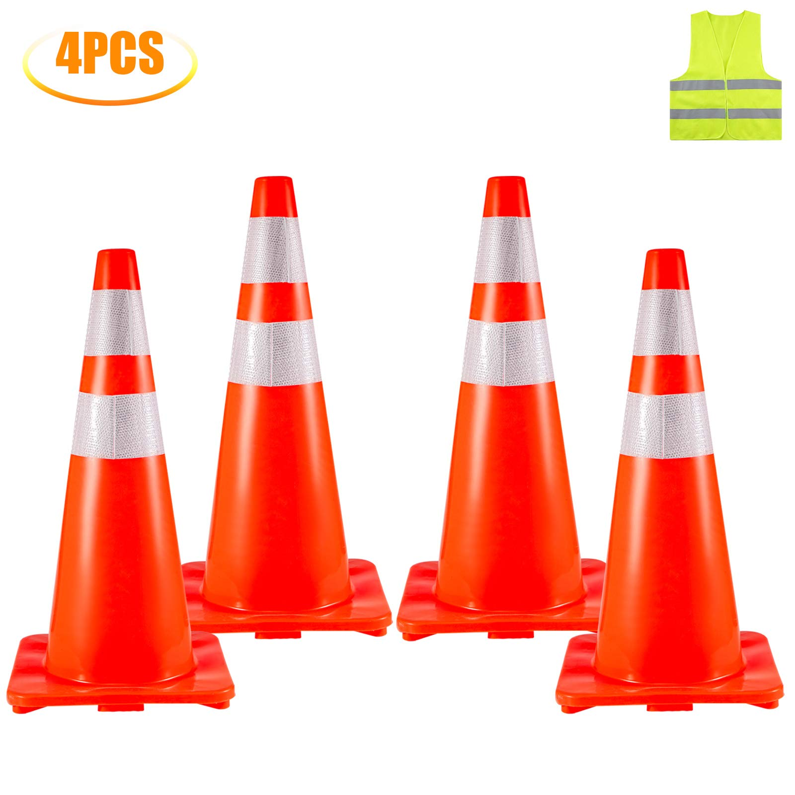 BestEquip 4 Traffic Cones 28'' Safety Cones PVC Orange Traffic Safety Cone with Reflective Collar Road Packing Soccer Training Cones by BestEquip