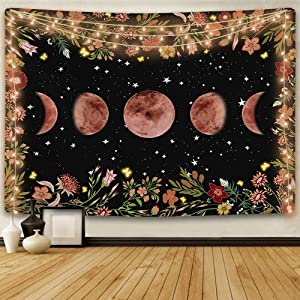 ENJOHOS Moonlit Garden Tapestry Moon Phase Surrounded by Vines and Flowers Black Background Wall Art Hanging for Girls Bedroom Living Room Dorm Decor(60x44 inches)
