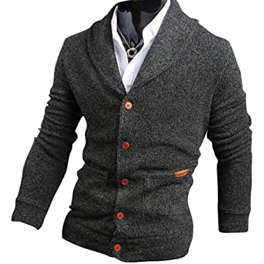 b0246cfc38a MS LOVE Mens Casual V-Neck Cardigan Sweater Dark Grey L at Amazon Men s  Clothing store
