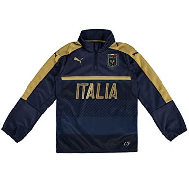 896c9e63a Puma Childrens Kids Football Italy Tribute 2006 1 4 Zip Training Top - Navy  -