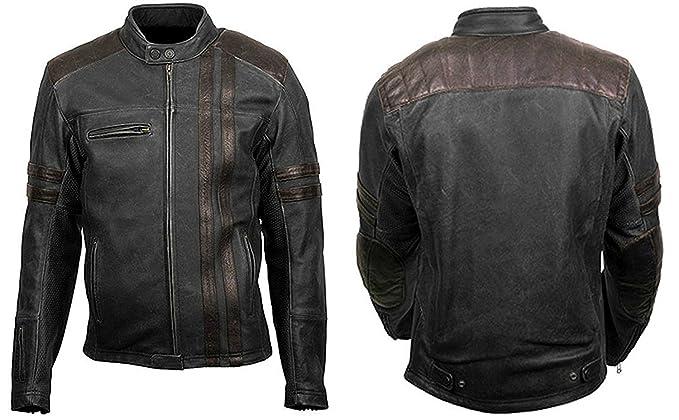 Famous Jacket Mens Classic Black Biker Cafe Racer Style Vintage Retro Scorpion Leather XXS