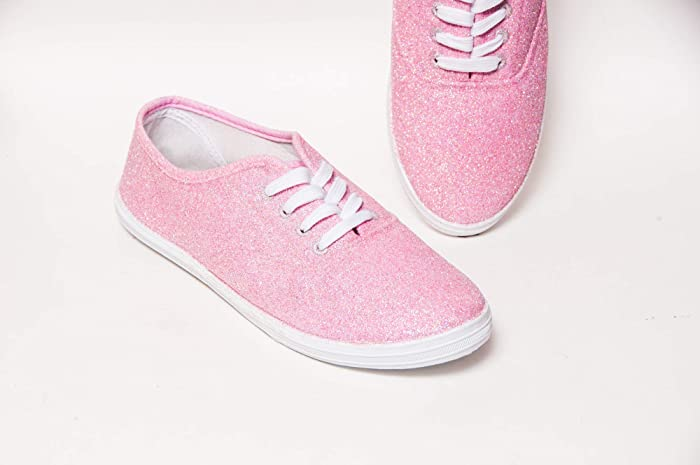 493e579c14c3 Image Unavailable. Image not available for. Color  Women s Hand Glittered  Canvas Oxford Bubblegum Pink Glitter Sparkle Sneaker Shoe