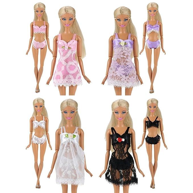 Amazon.es: Miunana 4 Conjuntos Trajes de Pijamas Camisón Encaje con Ropa Interior Batas de Baño Atractivos Ropa para Muñeca Barbie Doll: Juguetes y juegos
