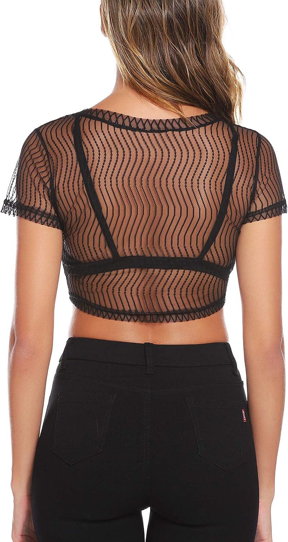 Aiboria Womens Basic Long Sleeves Slip-on Mesh Sheer Shrug Crop Top