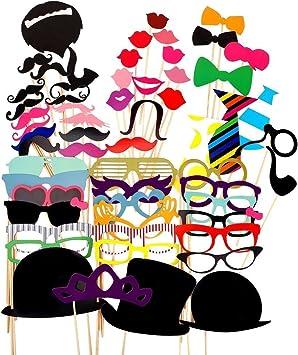 Paquete de 58 accesorios para Photocall con distintos diseños como pajaritas, bigotes, sombreros, ideales para fiestas, cumpleaños, bodas: Amazon.es: Juguetes y juegos