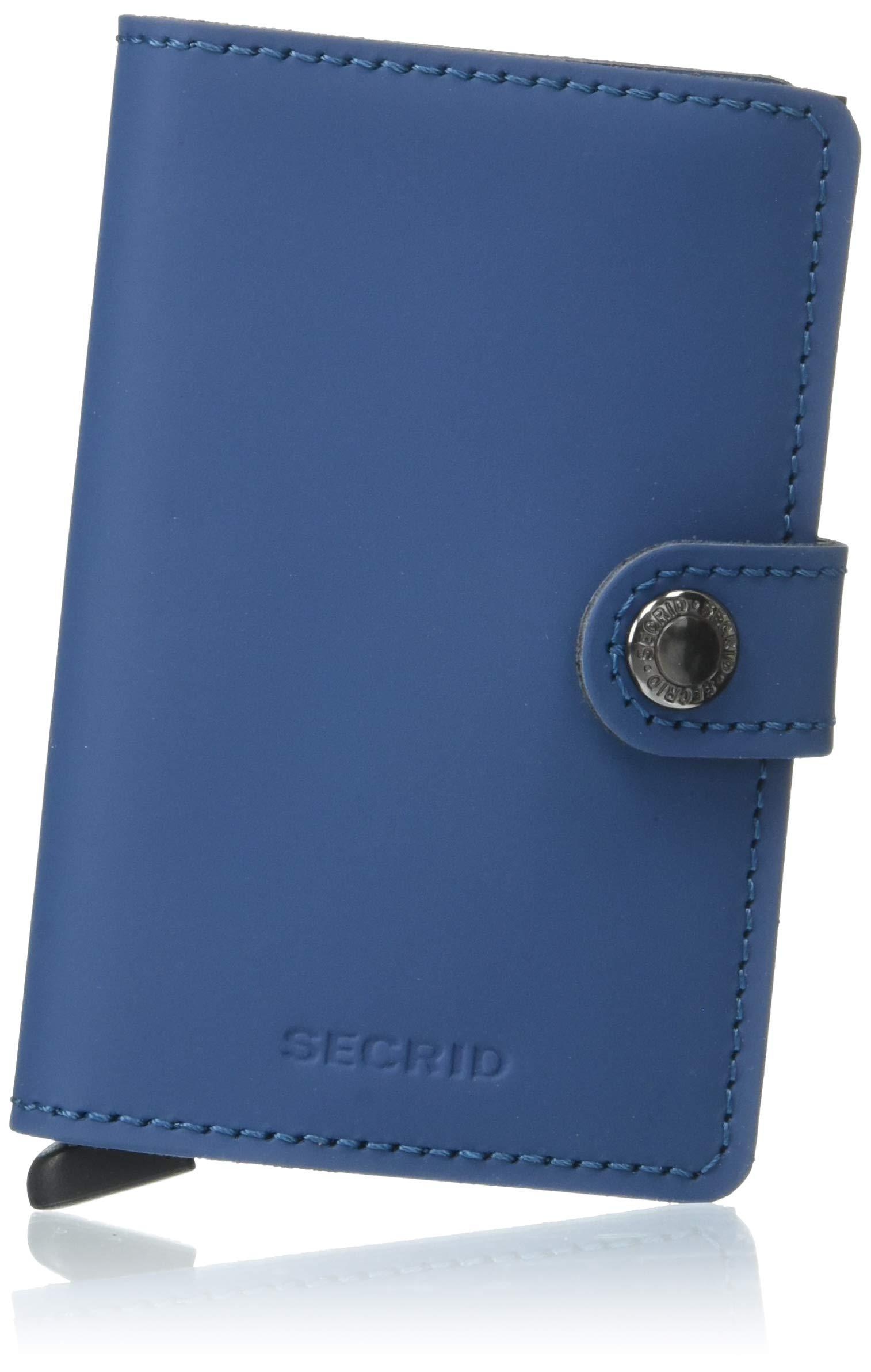 Secrid Mini Wallet, Matte Petrol, Genuine Leather, RFID Safe, Holds up to 12 Cards