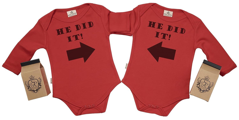 He Did It /& He Did It Body b/éb/é jumeaux dans bo/îte cadeau SR coffrets cadeaux pour b/éb/é jumeaux V/êtements b/éb/é jumeaux Coton Bio