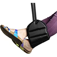 Airplane Footrest with Extra Thick Premium Quality Memory Foam - Adjustable Foot Rest Hammock Prevents Swelling & Joints…