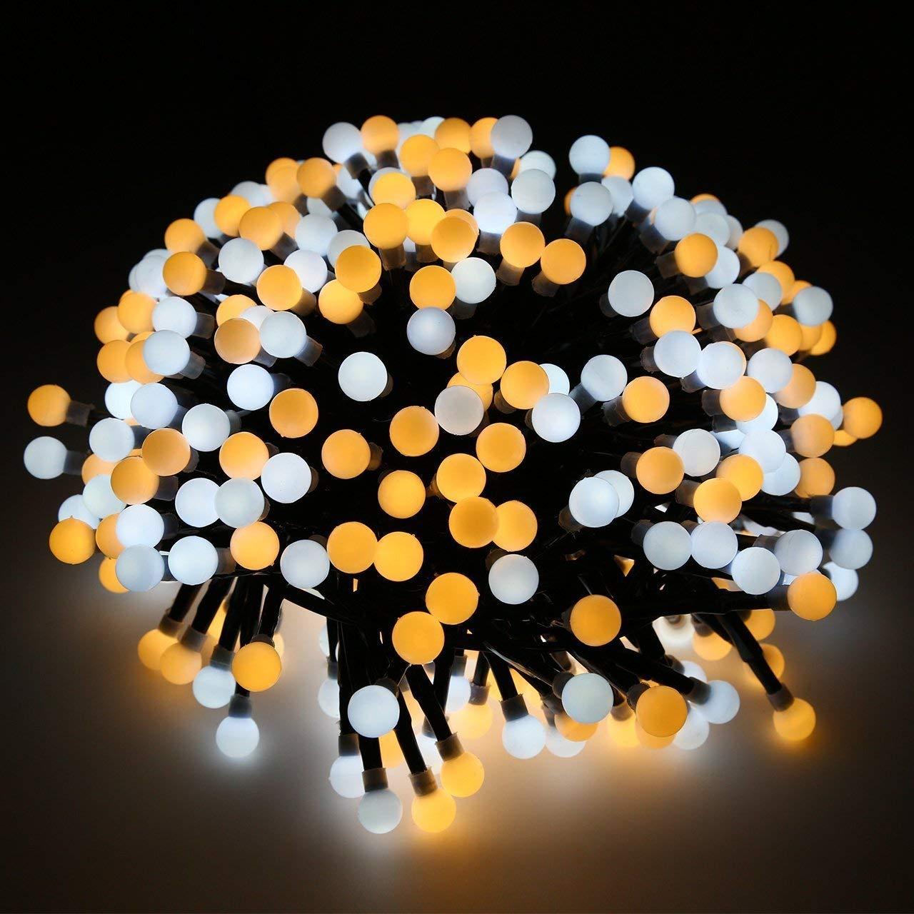 Luci di Stringa, Catena Luminosa Impermeabili 400 LED, 8 Modalità , Strisce di Luci LED Luci Decorative Uso Esterno ed Interno per Natale, Anno Nuovo, Matrimonio, Casa, Giardino, Finestre, Bianco Caldo 8 Modalità QianMo