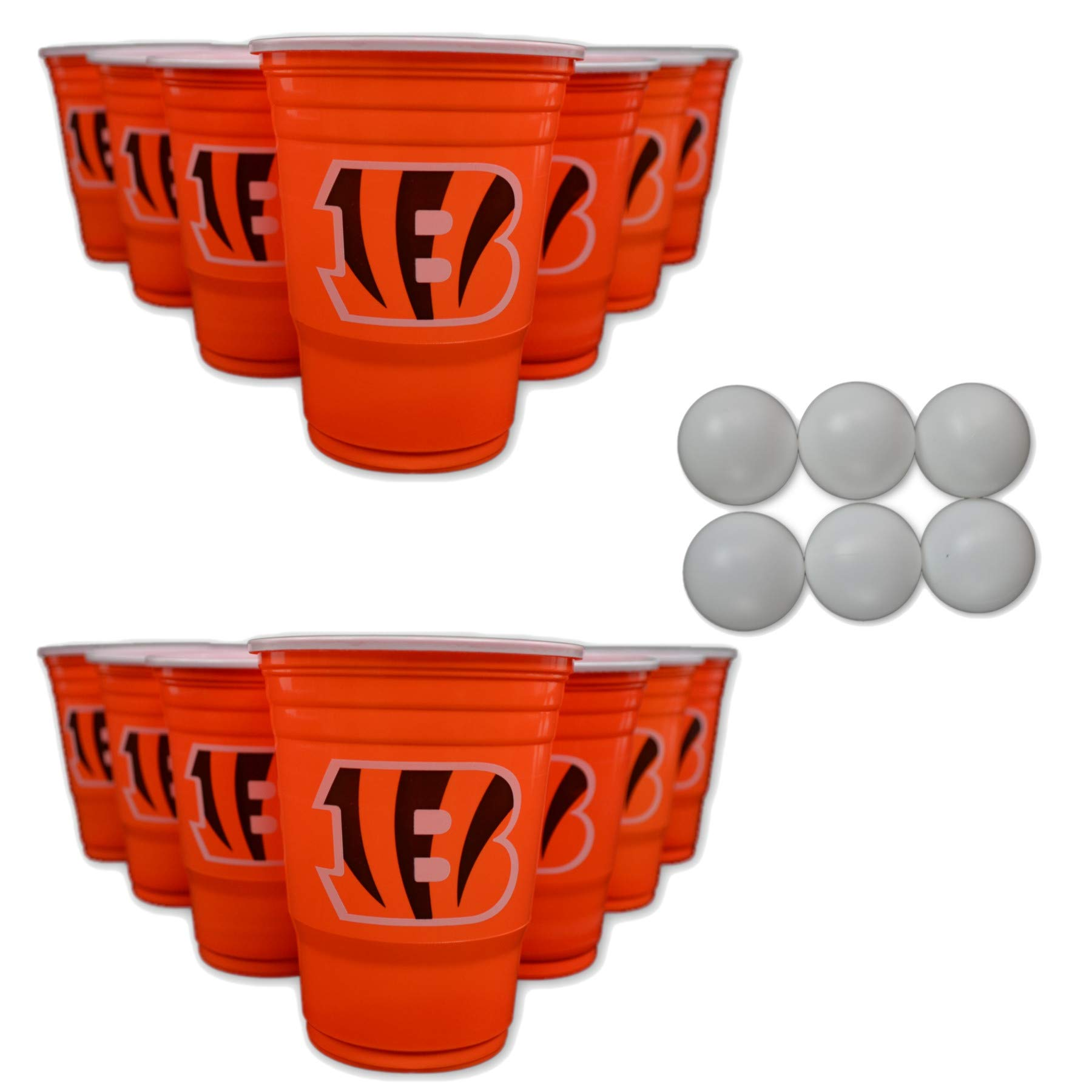 NFL Fan Shop Beer Pong Set. Rep Your Favorite Team with the Classic Game of Beer Pong at home or at the Tailgate Party - Comes with 22 Cups and 6 Ping Pong Balls (Cincinnati Bengals) by Siskiyou/Sport Mania