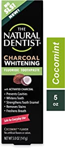 The Natural Dentist Charcoal Whitening Fluoride Toothpaste, 5 Ounce Tube