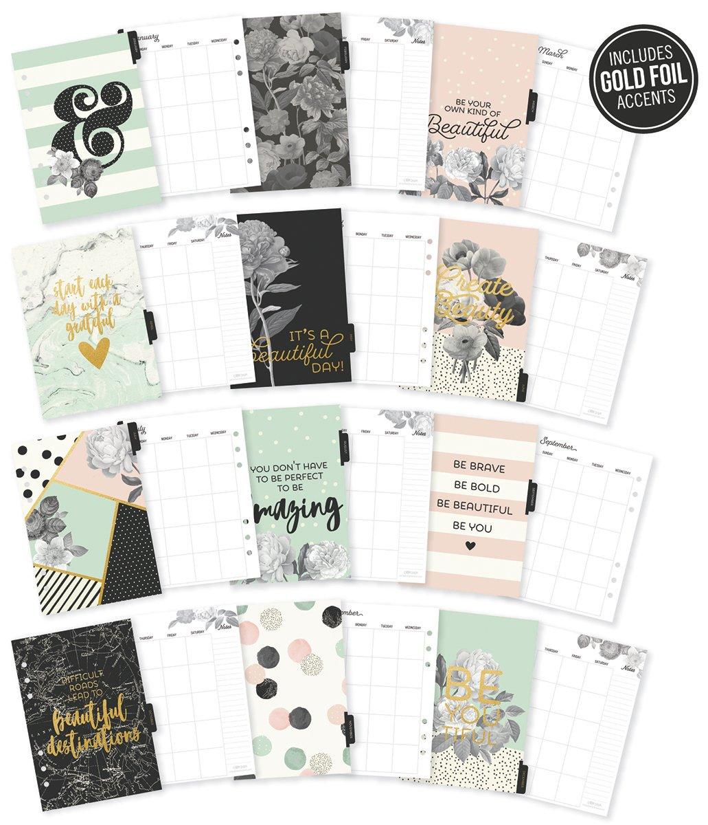 Carpe Diem Beautiful A5 Monthly Planner Inserts Simple Stories 7954