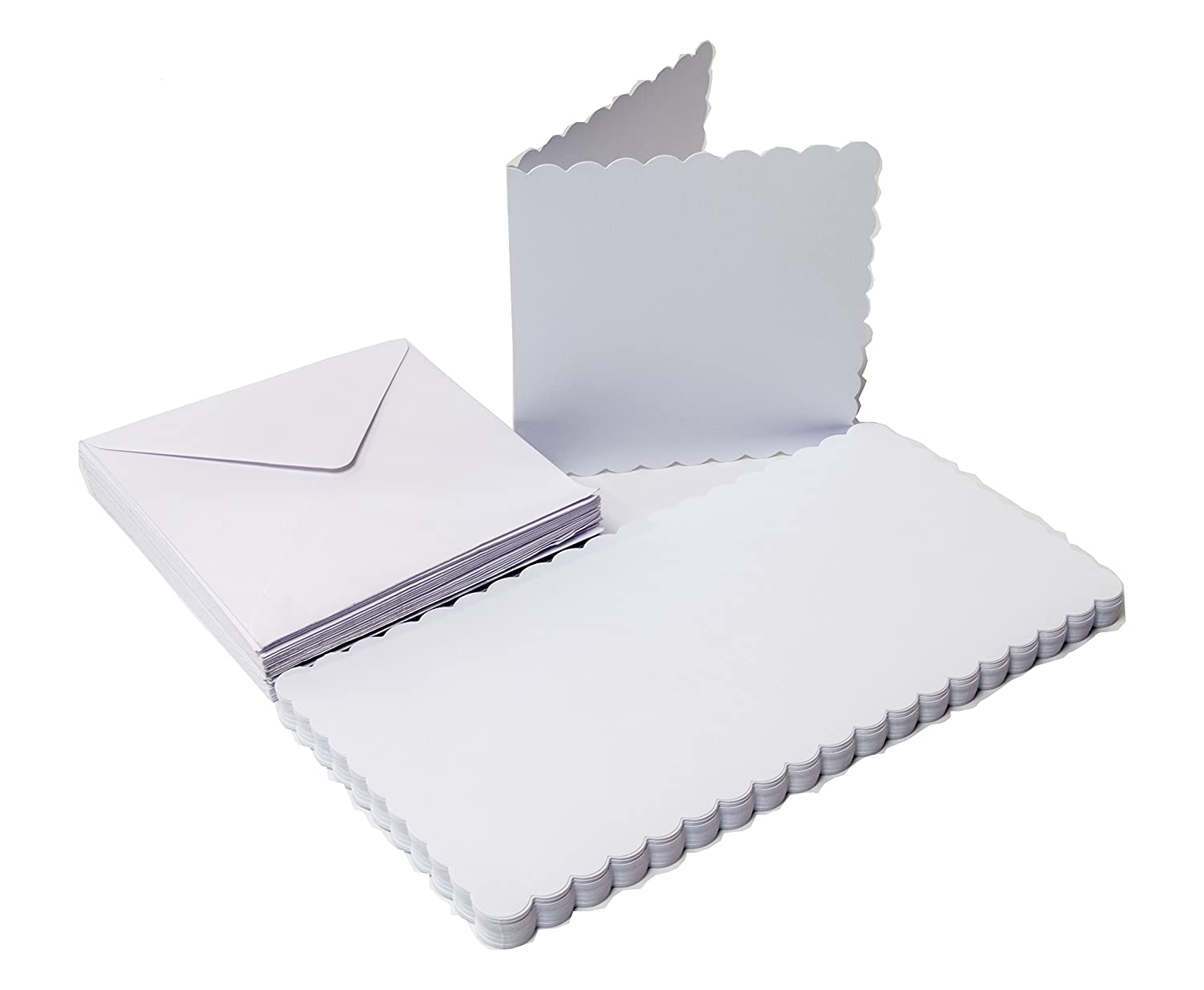 Card The Paper Palace 25 White Scalloped Cards /& Envelopes 7 x 7 17.78 x 17.78 x 17.78 cm