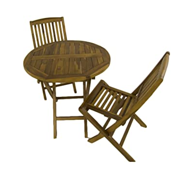 Edenjardi Conjunto de Exterior | Mesa Redonda 80 cm y 2 sillas Plegables | Madera Teca Grado A | Tratamiento al Agua aplicado | Portes Gratis