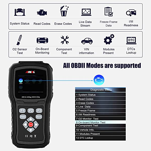 Supports all 10 OBD II test modes, including live data, O2 sensor test, component test.