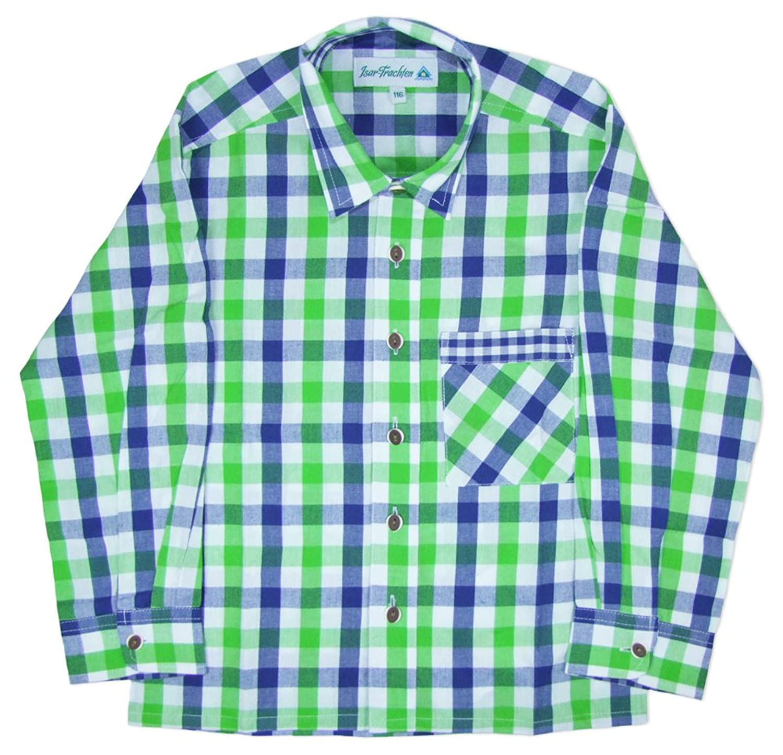 Isar Trachten Kinder Trachtenhemd Leon - Grün Blau - Schönes Markenhemd für Jungen zu Lederhose oder Jeans - Oktoberfest oder Kirchweih
