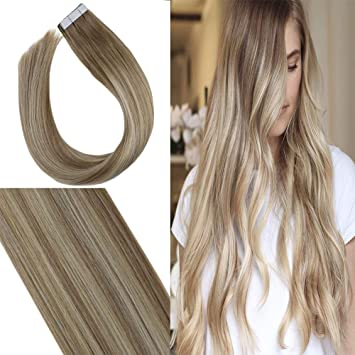 Youngsee Blonde Tape in Extensions Ombre Color Golden Blonde Mix Platinum  Blonde Balayage Tape in