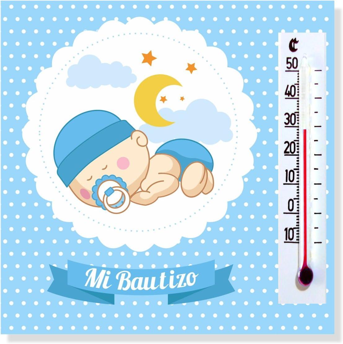 Detalles y Regalos de Bautizo Niño para invitados - Imanes con termómetro como Recuerdo de Bautizo - Bonitos y Originales - Pack 40 unidades - ¡Vuestros Amigos y Familiares Alucinarán!