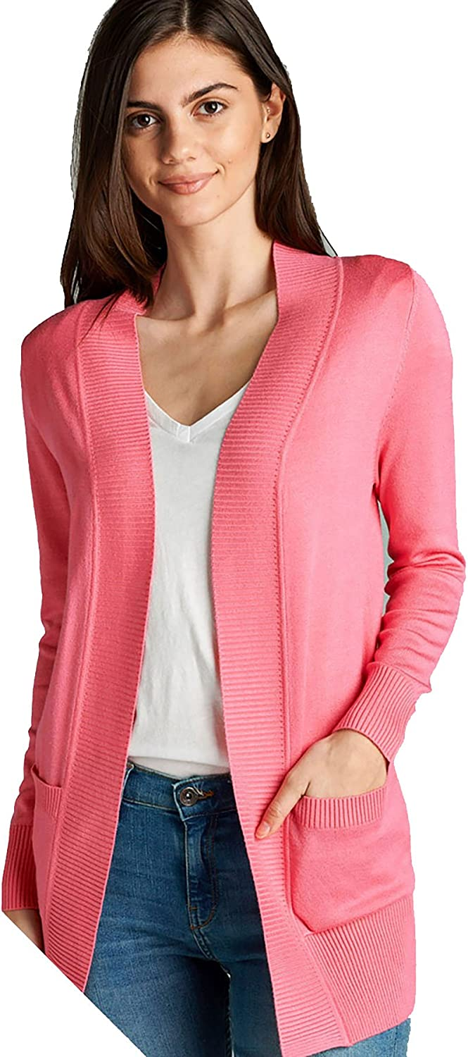 PINK ROSE Womens Long Sleeve Sweater Cardigan with Pockets