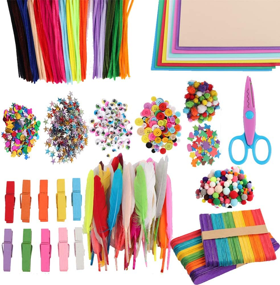 Ice Cream Sticks Including Pipe Cleaner Feathers Arts and Crafts Supplies for Kids Pom Poms Sequins,Little Clip and More Buttons Wiggle Googly Eyes