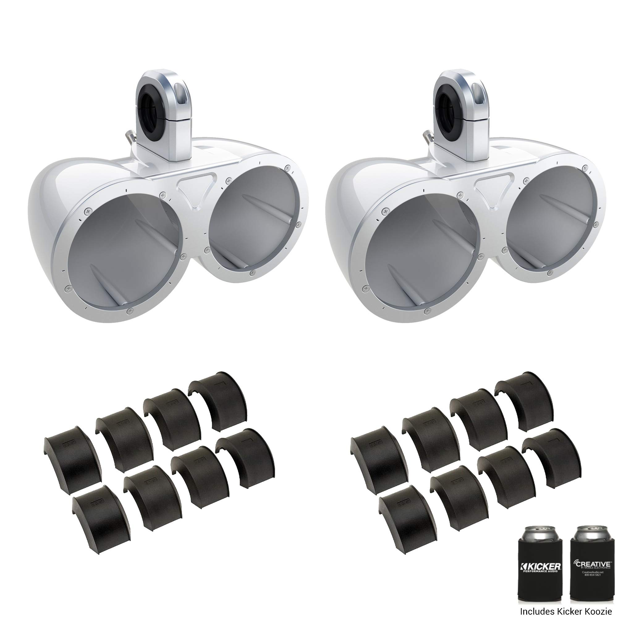 Kicker KMTEDW White Dual 6.5'' Empty Wake Tower/Roll Bar Enclosures with KMTAP Adapter Pack for UTVs