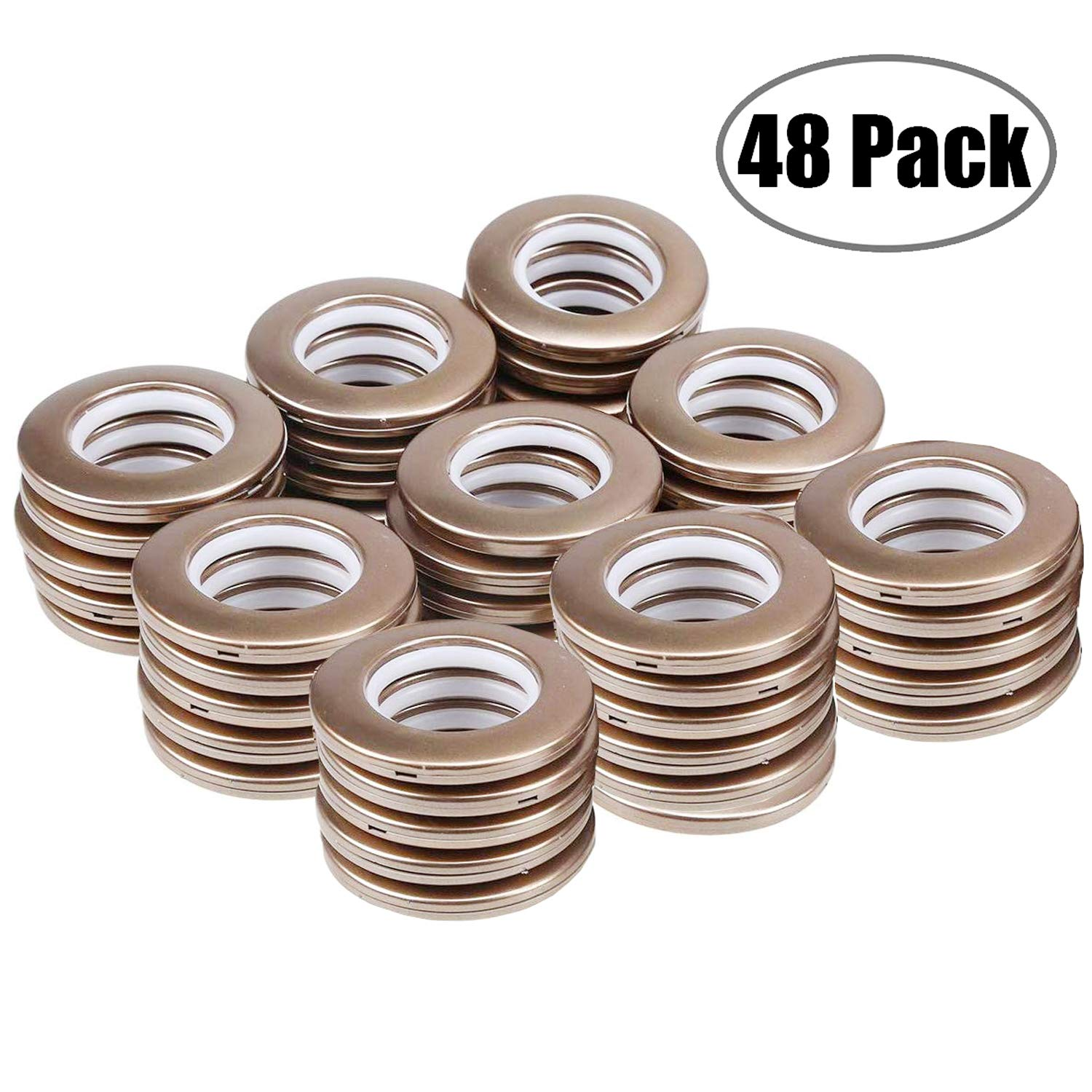 Curtain Grommets 1-9/16 Inch Inner Diameter Curtain Eyelet Ring Brown 48 Pairs by LANDGOO
